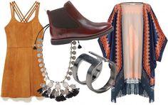 Vestido Honey Pie (R$ 1.300), bota Lacoste (R$ 679,90), colar Rapsodia (R$ 179), anel Zattini (R$ 59,90) e quimono Scarf Me (R$ 500)