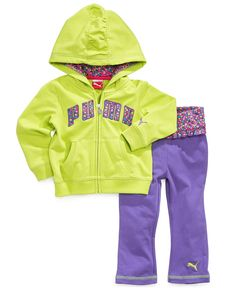 Puma Baby Set, Baby Girls 2-Piece French Terry Yoga Hoodie and Pants - Kids Baby Girl (0-24 months) - Macy's