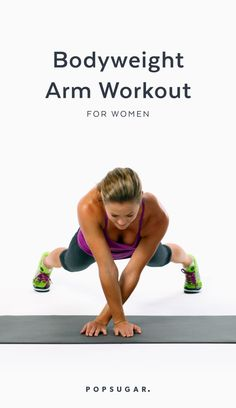 Here is a great arm workout and you don't need any equipment to do it — no dumbbells needed. These bodyweight moves will tone your arms but work other body parts too, so you don't waste time with bicep curls and triceps kickbacks. Lower Ab Workouts, Core Workouts, Biceps Workout, Bodyweight Arm Workout, Cardio, Routine, 10 Minute Workout, Lower Abs, Shoulder Workout