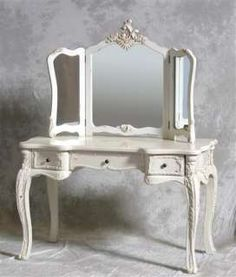 Victorian Vanity Dressing Table | Top Quality Antique White Large Antique  Dressing Table Set