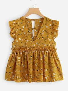 Shop Frill Trim Calico Print Babydoll Blouse at ROMWE, discover more fashion styles online. Classy Outfits, Girl Outfits, Casual Outfits, Cute Outfits, Fashion Outfits, Fashion Tips, Kurta Designs, Blouse Designs, Mode Kimono