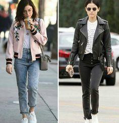 Duas inspirações tendência da Lucy Hale, com tênis branco, em estilos diferentes.♥️ #lucyhale #creative #fashion #casual #styles