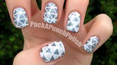 Triangles and Glitter Nail Art