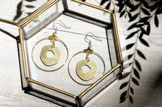 / 簡約感 / 復古金黃色調黃銅耳環 - 圓形幾何美學 ( 可改夾式 )