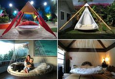 - Turn those old backyard trampolines into luxurious hanging beds! - Tips and Ideas! ideas kids trampoline Quick Tip - Recycled Trampoline Hanging Bed! Trampolines, Recycled Trampoline, Garden Trampoline, Outdoor Trampoline, Outdoor Spaces, Outdoor Living, Outdoor Decor, Outdoor Lounge, Outdoor Beds