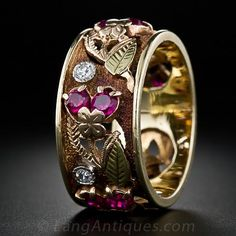 Fancy Four-Color Gold, Diamond and Ruby Band