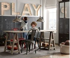 "Restoration Hardware kids- the ""PLAY"" marquee sign is perfect for the playroom Restoration Hardware Kids, Playroom Design, Boys Playroom Ideas, Playroom Seating, Playroom Table, Small Playroom, Baby Playroom, Attic Playroom, Deco Kids"