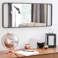 Espejo de metal negro H 64 cm NELLIGAN