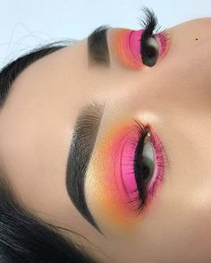 Pink and yellow eyeshadow orange eyeshadow makeup looks Colorful makeup colorful eyeshadow rainbow colors 🌈 Makeup Eye Looks, Mac Makeup, Skin Makeup, Eyeshadow Makeup, Eyeshadow Palette, Makeup Brushes, Pink Eyeshadow, Eyeshadow Brushes, Makeup Remover