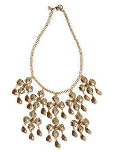 "Designed exclusively by Banana Republic in collaboration with Mad Men® costume designer Janie Bryant. Inspired by the razor-sharp tailoring of 1960s style, reinterpreted for today—and refreshed for the season.  Base metal setting.  10k gold plated.  Glass stones.  Measures 17"" end to end.  Lobster closure.  $69.50"