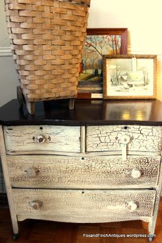 This sturdy serpentine shaped dresser was distressed from age, not a kit. It is a favorite find and one I hope doesn't sell. (250.00)  A 1910 woven split oak shopping cart sits a top. It is so charming with its wooden wheels. (120.00) Sold