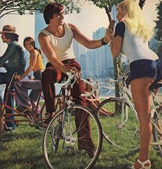 riding a bicycle is good exercise Vintage Bmx Bikes, Vintage Cycles, Cycling Shorts, Hot Pants, Vintage Ads, Exercise, Retro, 1970s Style, Bicycling