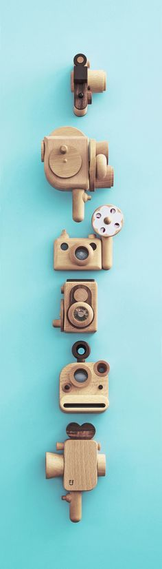 Vintage wooden camera. Retro style made by walnut,beech wood.