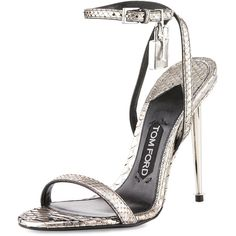 TOM FORD Lock Ankle-Wrap Python 110mm Sandal (25,845 MXN) ❤ liked on Polyvore featuring shoes, sandals, heels, schuhe, tom ford, silver, silver heel sandals, strap heel sandals, strappy high heel sandals and ankle strap shoes
