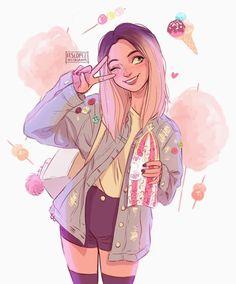 Itslopez a r t drawings, art e illustration art Inspiration Art, Art Inspo, Character Inspiration, Pretty Art, Cute Art, Bel Art, Itslopez, Art Mignon, Tumblr Drawings