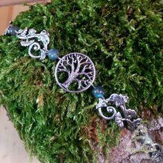 bijou bracelet elfique médiéval argenté feuilles arbre de vie yggdrasil volutes…