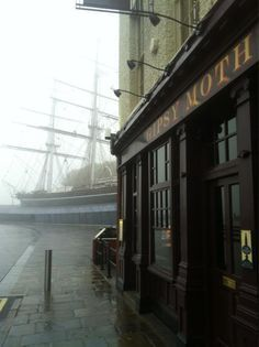 Greenwich, London with the Cutty Sark tea clippeer and The Gypsy Moth Pub