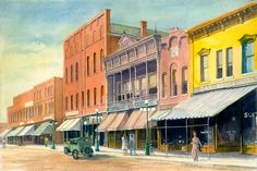 North Side of Noblesville Square - Water Color Painting