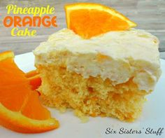 Pineapple Orange Cake- light, delicious, and perfect for a hot summer day! SixSistersStuff.com #recipe #dessert #cake