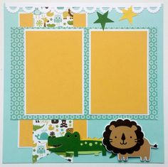 This premade scrapbook layout is perfect for photos of your precious little boy. Decorated with jungle animals, this scrapbook page would look so cute framed, and hanging in a baby boys nursery. This would make a unique baby shower gift! If you are working on a babys scrapbook album, this would be a versatile layout to add. This is a 12x12 one page premade scrapbook layout. There are two mats which would hold two 4x6 photos. If you are interested in looking at more baby layouts by…