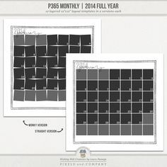 Need a quick and easy way to get started with Project 365 for 2014? This template set is a super-simple, versatile, and flexible way to document each month of the year. Simply clip a photo to each individual calendar date, add your own papers/embellishments, and you're finished.
