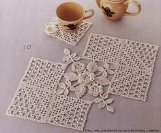 Lace crochet square with flower + diagrams