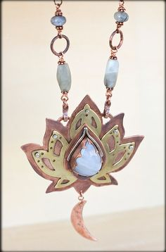 Lotus Necklace: Mixed Metal - Om Necklace - Lotus Flower Necklace - Power Crystals Necklace - Chakra Stone - Unique Pendant Lotus Statement by AnniamAeDesigns Om Necklace, Lotus Necklace, Lotus Jewelry, Copper Necklace, Yoga Jewelry, Metal Necklaces, Copper Jewelry, Modern Jewelry, Stone Jewelry