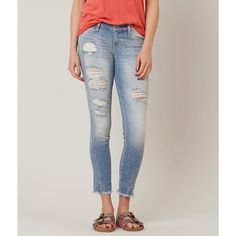 KanCan Skinny Stretch Cropped Jean ($65) ❤ liked on Polyvore featuring jeans, blue, ripped jeans, skinny jeans, stretchy skinny jeans, distressed skinny jeans and distressed jeans