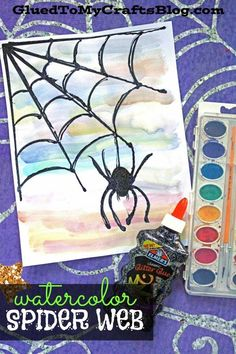 Watercolor Spider Web Kid Craft Idea is part of Kids Crafts Halloween Spider Webs - Don't squirm or call the exterminator on this spider invasion! Check out our EASY Watercolor Spider Web kid craft idea today! Halloween Art Projects, Halloween Artwork, Halloween Crafts For Kids, Halloween Spider, Crafts For Kids To Make, Halloween Activities, Craft Activities For Kids, Fall Crafts, Art For Kids