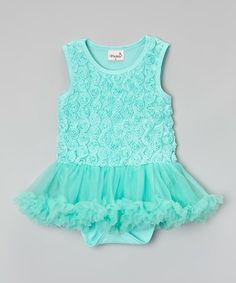 Look what I found on #zulily! Teal Rosette Skirted Bodysuit - Infant & Toddler #zulilyfinds