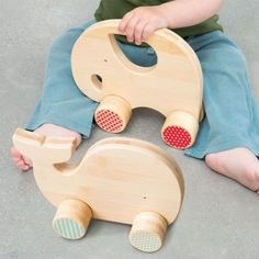 Bamboo Baby Toy Blue Whale on Wheels Push Toy by Petit Collage