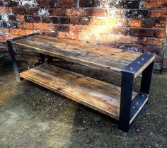 Industrial Chic Style Reclaimed Custom Coffee Table Tv Unit. Steel and Wood…