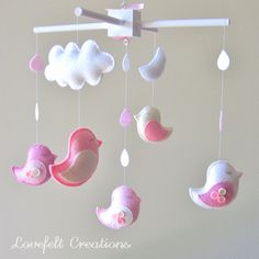DIY mobile for crib with clip - 2 birds in red, blue, green and yellow