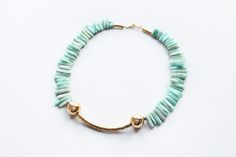 This piece is stunning - Amazonite and brass necklace / Kathryn Blackmore UK