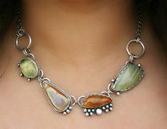 Necklace   MercuryOrchard Designs.  Sterling silver, Jasper, Prehnite, and Carnelian Agate