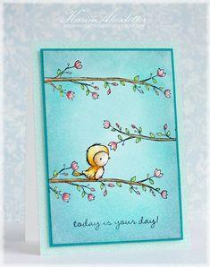 Karin Akesdotter - Robin and Blossoming Perch Card - side