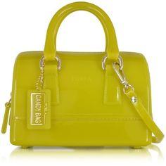 Furla Designer Handbags Jade Jelly Rubber Candy Sweetie Mini Satchel ($210) ❤ liked on Polyvore featuring bags, handbags, mini satchel handbags, handbags purses, purse satchel, mini purse and yellow handbag