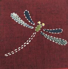 Embroidered & appliqued dragonfly