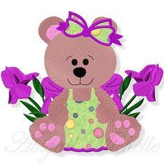 Iris Bear Applique - 3 Sizes!