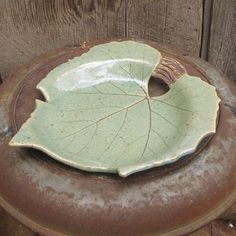 Handbuilt Clay/ Pottery LEAF Soap or Candy Dish by StarLightClay, $18.00
