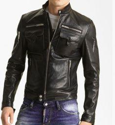 59e9a0e6d531 Mens Winter Leather Jacket With Zippers Sz S-5XL Black Cognac XMAS SALE  Biker Leather