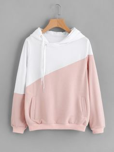Color Block Cut And Sew Hoodie -SheIn(Sheinside)