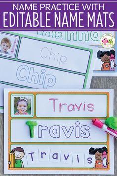 There are so many ways that your kids can work on name practice with these editable name activity mats. You will love these multi-sensory name activities. Preschool Name Recognition, Name Activities Preschool, Welcome To Preschool, Preschool Classroom Themes, First Day Of School Activities, Pre K Activities, Preschool Literacy, Preschool Lesson Plans, Alphabet Activities
