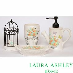 @Overstock.com - Laura Ashley Birds and Branches 4-piece Bath Accessory Set - Store your bathroom essentials in style with this four-piece bath accessory set. It's covered in a cute flower design that will add charm to the room. The bath set includes a toothbrush holder, soap dish, dispenser, and tumbler for your convenience.  http://www.overstock.com/Bedding-Bath/Laura-Ashley-Birds-and-Branches-4-piece-Bath-Accessory-Set/7940797/product.html?CID=214117 EUR              51.40