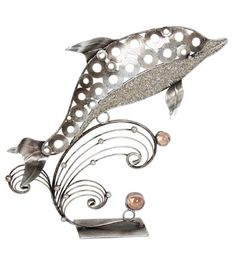 SILVER METAL DOLPHIN TABLE SCULPTURE