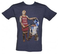 Men's Navy Marl Kiss The Cook Star Wars T-Shirt from Junk Food : Main