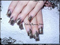 Cheetah print nails. Hand painted art. Acrylic nails