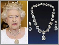 The tiara and jewels were worn at Queen Elizabeth's coronation in 1953.