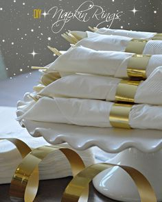 Diy Napkin Ring Holders gold napkin rings this might be good to make ahead of time rhpinteres. Parents Anniversary, Golden Anniversary, 50th Wedding Anniversary, Anniversary Parties, Anniversary Ideas, Anniversary Surprise, Anniversary Cards, Gold Napkin Rings, Gold Napkins