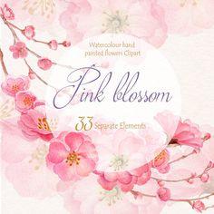 Flor de primavera acuarela Clip Art mano por WatercolorSeasons